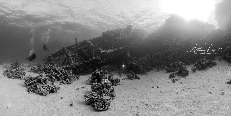 L'épave du Tien Hsing posée sur le récif corallien