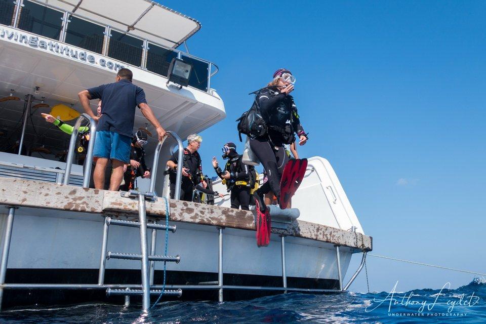 Mise à l'eau en saut droit depuis la plateforme arrière du bateau