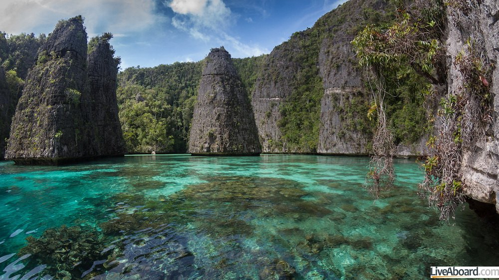 The secret lagoon inside Balbulol island in Misool area at south of Raja Ampat.